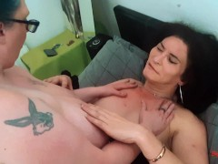 Big Busty Shez and Mature TS Celine suck and fuck