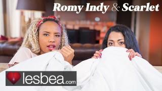Lesbea Romy Indy and Scarlet Rebel in Movie Night Lesbian Love Making