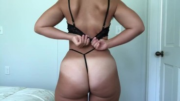 HAIRY AMATEUR PAWG G-String Strip Tease And BBC Dildo Ride