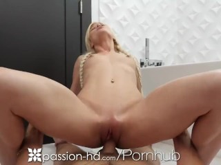 PASSION-HD Blonde Caught Shaving Her Pussy And Pounded