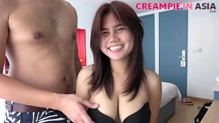 Naturally busty Asian cutie is ready for her creampie