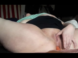 Shaved and had to use a carrot again, very horny.