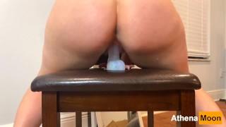 Blonde Dreadlock PAWG Rides Dildo and Squirts   Pussy is Drenched