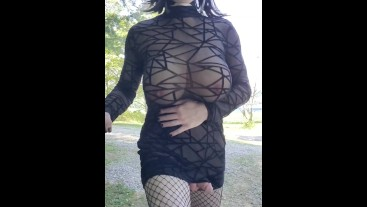 See through dress by the road