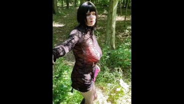 See through dress in the woods