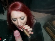 Cigar SMOKING facial (SLO MO cumshot)