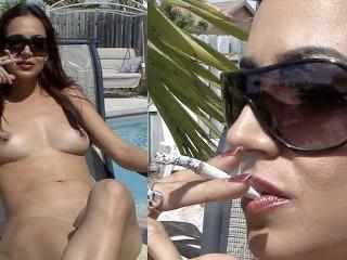 Cigarette/big tits/cigarette the by a veronica