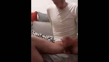 Skinny british lad masturbates his juicy erected cock until he shoots out cum (CUMSHOT)