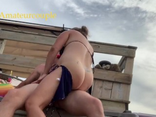Amateur milf gets 2 quick creampies outdoors in bikini