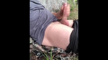 Outdoor masturbation solo male cums in public