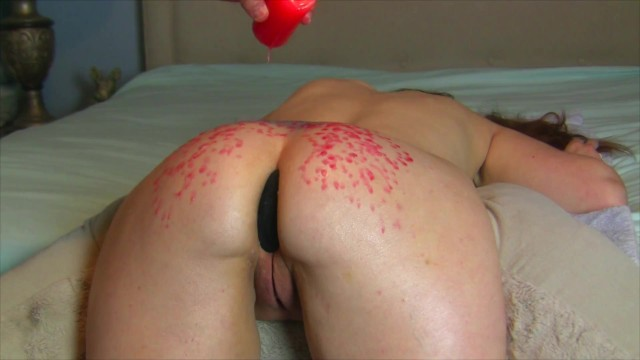 Striped halloween taper candles Curvy submissive milf gets a hot oil painal massage red candle wax