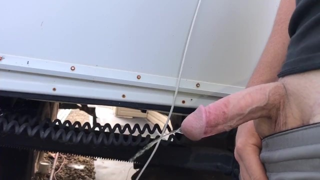 Pissing cock Half hard cock takes long piss
