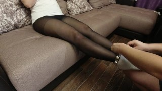 shackles on the legs and arms, black pantyhose feet white socks foot