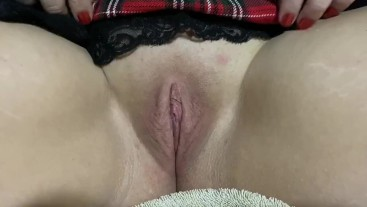 CLIT EXPOSED—Milf School Girl Outfit with FINGER TEASING