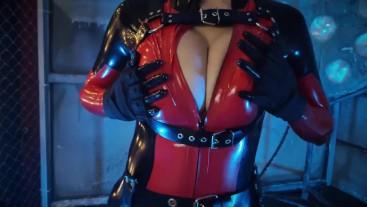 Lady Deadpool latex cosplay - topless