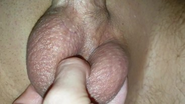 letting cuckold out of his cage. Hard handjob cum denial