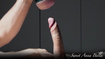 Fun with Fleshlight slowly and deeply finished with oiled handjob and orgasm