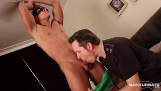Maskurbate - Masked Muscle Jock Gives Huge Facial & Keeps Getting Sucked