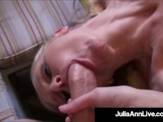 Busty Cougar Julia Ann Sucks On Big Sausage In The Kitchen!