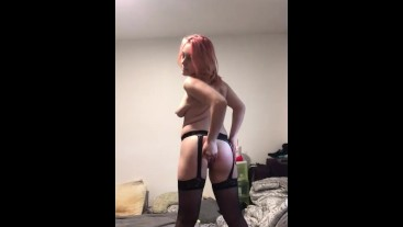 Young MILF stripping out of her lingerie