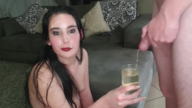 Slave cum facial Drinking piss after cum facial