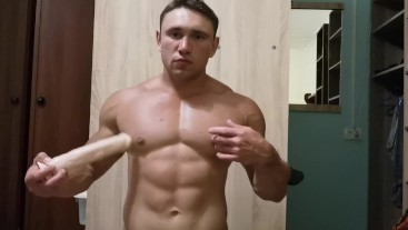Muscle bottom plays with dildo anal and blowjob