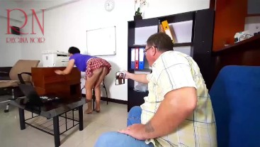 The firm's client fucks a stupid secretary. Fucks in the mouth and pussy. Sex in the office.