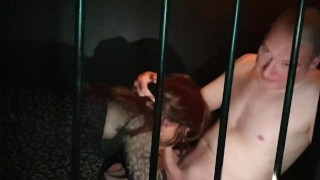 Sex club cage fucking with Sexy Tgirls Gigi and April