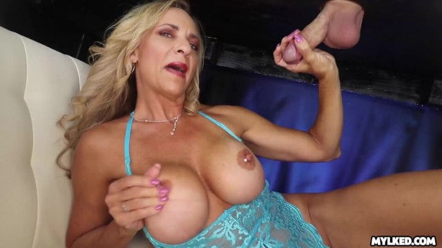 Milk maid xxx Big boob milf handjob at milking table