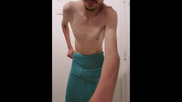 Naked Young Man Take Off Towel Slow-Mo