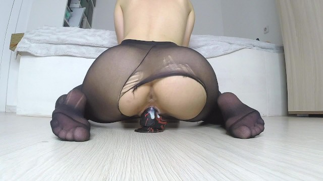 Japanese pantyhose stocking photos Teen girl ripping her pantyhose to ride a dildo