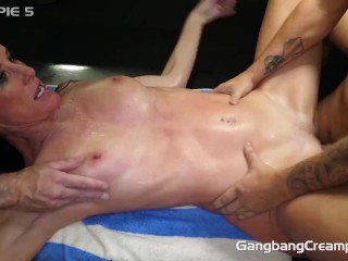 Skinny hotwife fucks strangers for her husband