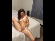 Spy on Joey Lee Dancing, Covered in Oil, Squirting
