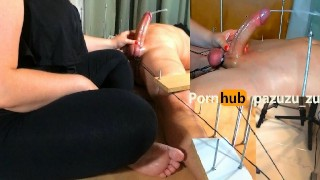 Amateur Handjob Game, If he Can't Cum and throws the coins, I'll Wax his Balls Double Cumshot