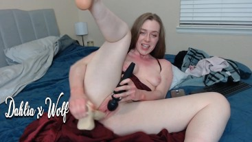 Wearing a red dress and playing with my tight hairy squirting pussy