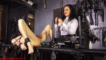 Machine fucking and milking: Mistress Ezada ruining the orgasms of Her slave twice
