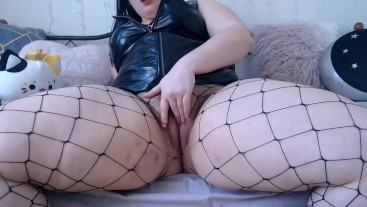 Worshiping your Dick JOI and JOE in Fishnets and Tight Leather Dress