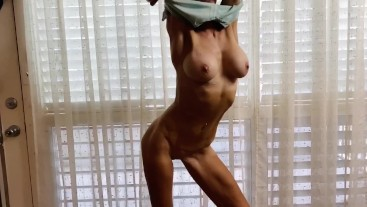 Fit hottie sexy tease dance after workout (bonus SLO-MO also!