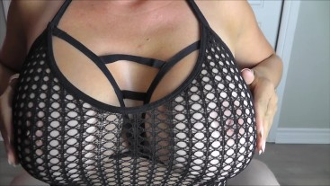BoobiesurpriseAddict black fishnet sexy titfuck until cum on big tits