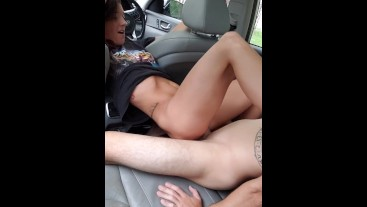 Horny Couple Fucks in Car Back to Back CreampieS in juicy pussy