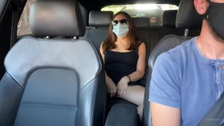 Milf cheating wife cums with Uber guy on the way to the beach