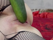 My wife Tiffany harvests zucchini and fucks herself with it