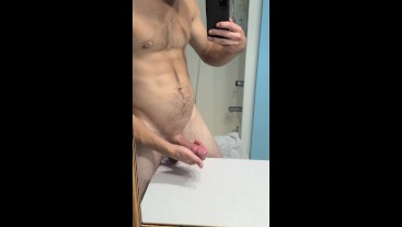My Lubed Up Fat Thick Girthy Cock And Saggy Balls Getting Played With
