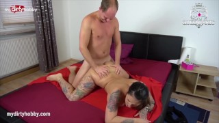 MyDirtyHobby - Tattooed brunette fucks a fan and gets his cum all over her big boobs