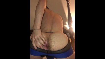 19 year old college guy Jesse Gold shows of his hairy hole and jerks off
