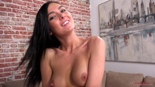 BRUNETTE THOT Marley SUCKS A HUGE COCK then SWALLOWS NUT but there's SO MUCH it gets ON HER FACE!