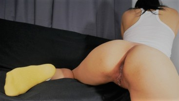 Pinay Naughty Teen Humps And Masturbate on StepDad Black Couch - Dripping Wet And Juicy Tight Pussy