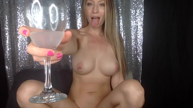 Porn and shite Drinking squirt from a glass, using it as lube-mandy madison