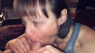 Mature cougar wife love's sucking young man dry.