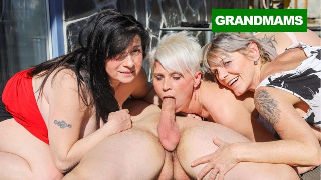 Quicktime bbw mature movies Three hungry grannies finish up a young cock